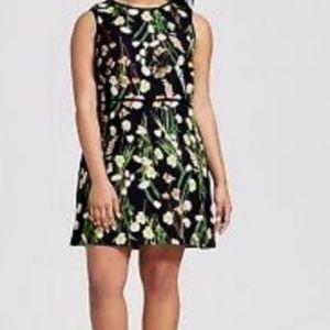 NWT Victoria Beckham black  mini floral dress